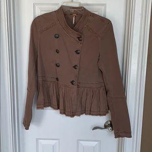 Ladies Free People Jacket Coat XS Brown EUC